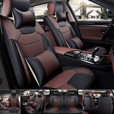 US Mircrofiber Leather Seat Covers L Size 5-Seat Car Front+Rear Set Black&Coffee