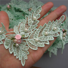 1 yard Flower Pearl Lace Edge Trim Wedding Bridal Ribbon Applique Sewing  Crafts c1ed856e7f98