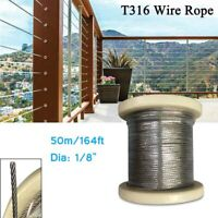 "164FT 1/8"" T316 Stainless Steel Wire Rope Deck Cable Railing for Hanging Lifting"