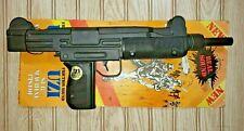 vtg 80s NOS NIP Plastic Toy UZI Gun Black Sub Machine Pistol Friction Sound HONG