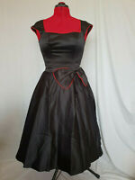 Black Red Piping Rockabilly Vintage 50s Pin up Swing Dress with Bow Size 8