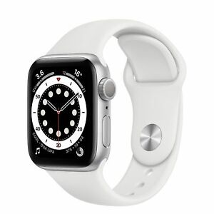 NEW APPLE Watch Series 6 32GB Silver Aluminium Case & White Sports Band 44mm GPS