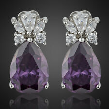 Fashion Lady Purple Amethyst Pear 18K White Gold Plated Gp Stud Earring