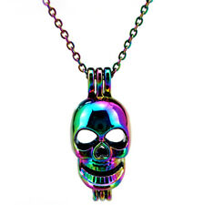 C60 Rainbow Color Skeleton Skull Halloween Ghost Locket Pendant Chain Necklace