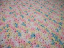 Bernat crochet baby blanket  34x34 Bright colors  of Pink, yellow, teal and whit