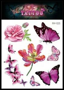 BUTTERFLY & FLOWERS Temporary Tattoos 🇬🇧 Adult body Art Summer Girls Pastel 🌺
