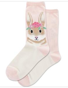 NWT Hot Sox Ladies Socks Flower Crown Bunny Blush Crew Socks  Size 9-11