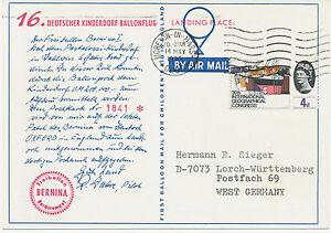 GB 1965 16th German Balloonpost-Flight, landed in Moreton-in-Marsh, Glos., R!