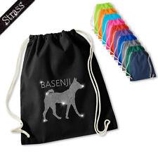Gymnastics Bag Pouch Backpack Gym Bag Sports Bag Rhinestone Dog Basenji M1