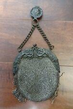 Vintage Silver Frame Purse Black Pearled Beads w/ Fringe Missing & Belt Clip