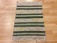 Striped Green Multi Color Handloomed Cotton Rag RUG Durrie Mat 60x90cm 2x3 50%OF