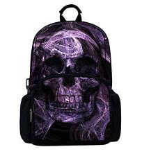 Cool Purple Skull Outdoor Backpacks Daypack Camping Travel School Bag Back Packs