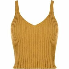 Womens Ladies V Neck sleeveless Knitted Ribbed Plain Bralet Crop Top Vest Top