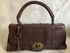 Fossil Vintage Reissue Revival Frame Brown Leather Satchel Purse