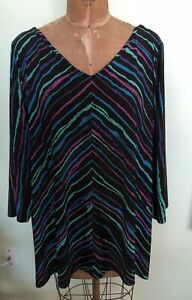 BOB MACKIE WEARABLE ART TUNIC TOP SILKY STRETCHY COLORFUL SIZE 2X