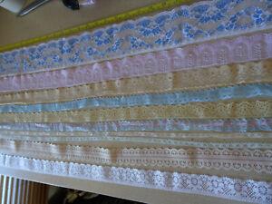 Job Lot Off-Cuts Non-Stretch Lace 10 x 1m lengths Lace Bundle Light colours