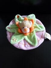 28/ DOUDOU PLAT ROND OURS  BABY NAT rose vert orange ETAT NEUF - LOT DE 2