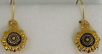 Damascene Gold Star of Redemption Design Round Drop Earrings Midas Toledo Spain