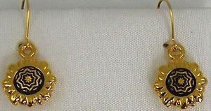Damascene Gold Star of Redemption Design Round Drop Earrings Midas Toledo Spain