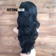 Jet Black  Layered Long Wavy Curly 3/4 Fall Wig  Half Wig 0908-1