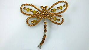 Vintage Dragonfly Dragon Fly Brooch Pin Amber Rhinestones Pavé Beads Silver Tone