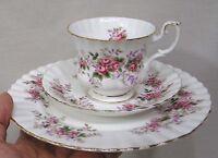 Vintage Royal Albert 3 Piece Set Cup Saucer Cake Plate Lavender Rose Pattern