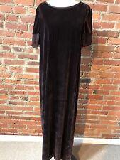 DKNY Brown Velvet Women's Dress Short Sleeve Silk Cuffs Maxi Dress long 8