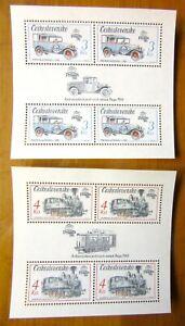 EBS Czechoslovakia 1987 - Praga '88 Mail Bus & Train - Block 70+71 MNH** cv $31