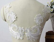 Vintage Feather Lace Applique Ivory Bridal Sew on Wedding Embroidery Lace Trim