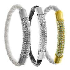 """Set of Three 7"""" 18K White Gold Plated Bracelet with Magnetic Clasps By Matashi"""