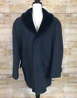 Vintage Schott Wool Coat Mens Size 38 Charcoal Gray Faux Fur Lining Collar