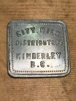 Token, City Milk, Kimberly B.C. Good For 1 Pint Of Milk Square Coin B11