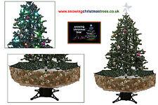 Nieve árbol de Navidad 1.7 M | Verde Falda Estampada umrealla base | Hermoso