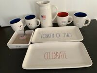 Rae Dunn 4th of July Bundle Mugs, cheese board, NapKin Holder, Plates , Pitcher