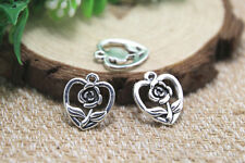 30pcs heart rose flower Charms, Tibetan silver heart rose pendants 18x16mm