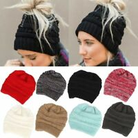 Ponytail Beanie Hat Women Skull Stretchy Winter Warm Messy High Bun Knitted Cap
