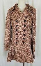 Due+2 Double Breasted Wide Lapel Ruffled Fit & Flare Cheetah Print Coat Womens S