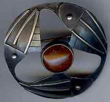 ORNO POLAND VINTAGE MODERNIST STERLING SILVER & AMBER FISH PIN BROOCH