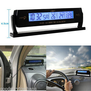 3In1 Car Digital Battery Alarm TIME + Thermometer + Car Voltage LED Backlight