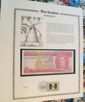 Barbados Banknote 1 Dollar 1973 P 29 UNC  with FDI UN FDI FLAG STAMP prefix F