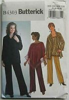 Butterick Sewing Pattern 4303 Misses Poncho Top Pants Size 26W-32W Easy Wardrobe