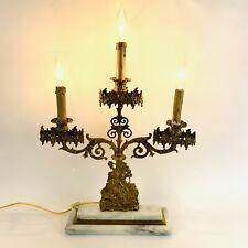 Antique Girandole Candelabras Gilded Brass On Marble 3 Lite Electric