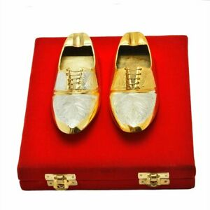 """Set of 2 Silver and Gold Plated Shoe Shaped Ashtray Bowl Gift Item Home Decor 6"""""""