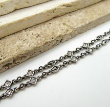 Distressed Silver Tone White Gray Rhinestone Layered Double Chain Bracelet RR26