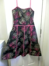 Liz Claiborne Womens Spaghetti Strap Sundress Black Floral Stretch Lined Size 12