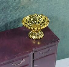 Dollhouse Miniature Gold Candy Dish Fruit Bowl 1:12 1:24 Half Inch Quarter Scale