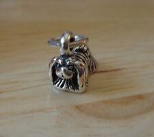 Tiny Sterling Silver 3D 9x10mm Long Hair Pekingese Dog Charm