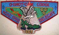 OA O-SHOT-CAW LODGE 265 S FLORIDA COUNCIL SMY ARROWHEAD 1992 NOAC DELEGATE FLAP