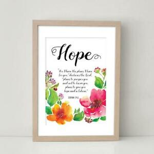 Hope Modern Floral Bible Verse Christian Quote Jeremiah 29 Wall Art Print Poster