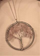 Wire Wound Silvertone Pinkish White Crystal Stones Tree of Life Pendant Necklace